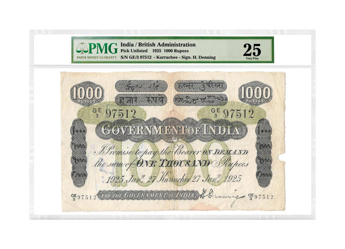 1925 1,000 rupees. Image courtesy of PMG