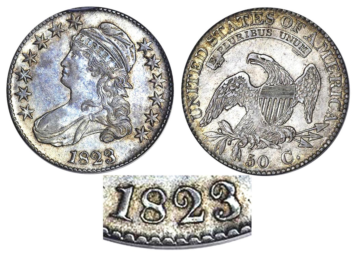The figure 3 in the date 1823 is known for its poor quality.  (Image courtesy of Stack's Bowers)