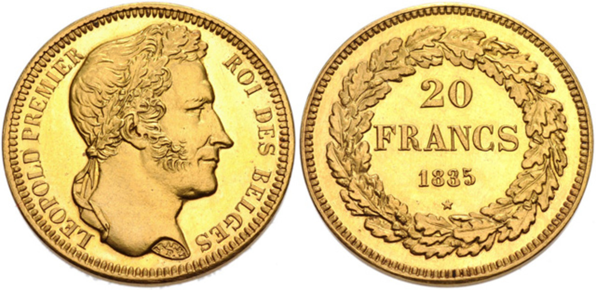 Belgium 1835 Gold 20 Francs – NGC PF-64,  Lot 970717