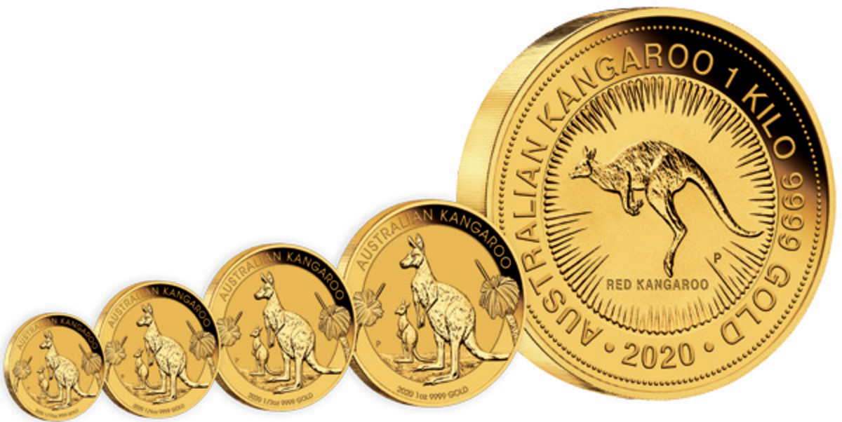 Sales have been good for The Perth Mint's 2020 Kangaroo bullion coins. Shown here are the traditional four weights: 1/10 ounce, 1/4 ounce, 1/2 ounce and 1 ounce, plus a 1-kilo strike featuring the well-known Red Kangaroo. (Image courtesy The Perth Mint.)