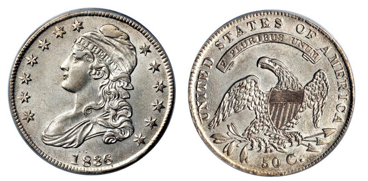 1836 was the last year for Capped Bust half dollars with lettered edges. (Image courtesy of Stack's Bowers)