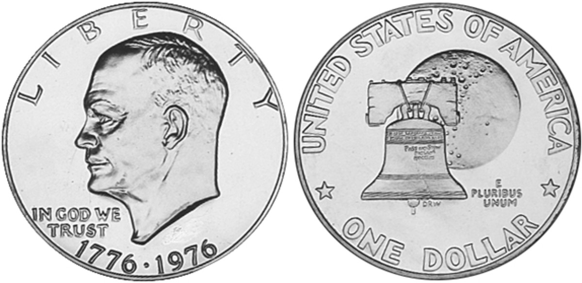 Eisenhower dollar Denomination: One dollar Weight: 22.8 grams (clad issues from 1971 to 1974), 24.59 grams (silver issues from 1971 to 1974, 1976), 22.68 grams (clad issues from 1976 to 1978) Diameter: 38 mm (clad issues from 1971 to 1974), 38.1 mm (clad issues from 1976 to 1978, all silver issues) Composition: Copper-Nickel Clad Copper, Silver (40 percent silver, 60 percent copper) Dates minted: 1971 to 1974, 1976 to 1978 Designer: Frank Gasparro, Dennis R. Williams (1976 reverse design)