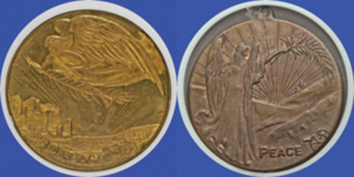 Obverses of two brass U.S. 1918 WWI peace medals (Hibler-Kappen 896, 897). On both winged Peace bears an olive branch back-lit by the sun of hope that rises above devastated land. The reverses bear a simple legend as to the dates of commencement and ending of the war along with crossed Stars & Stripes beneath. (Images courtesy & © www.ha.com)