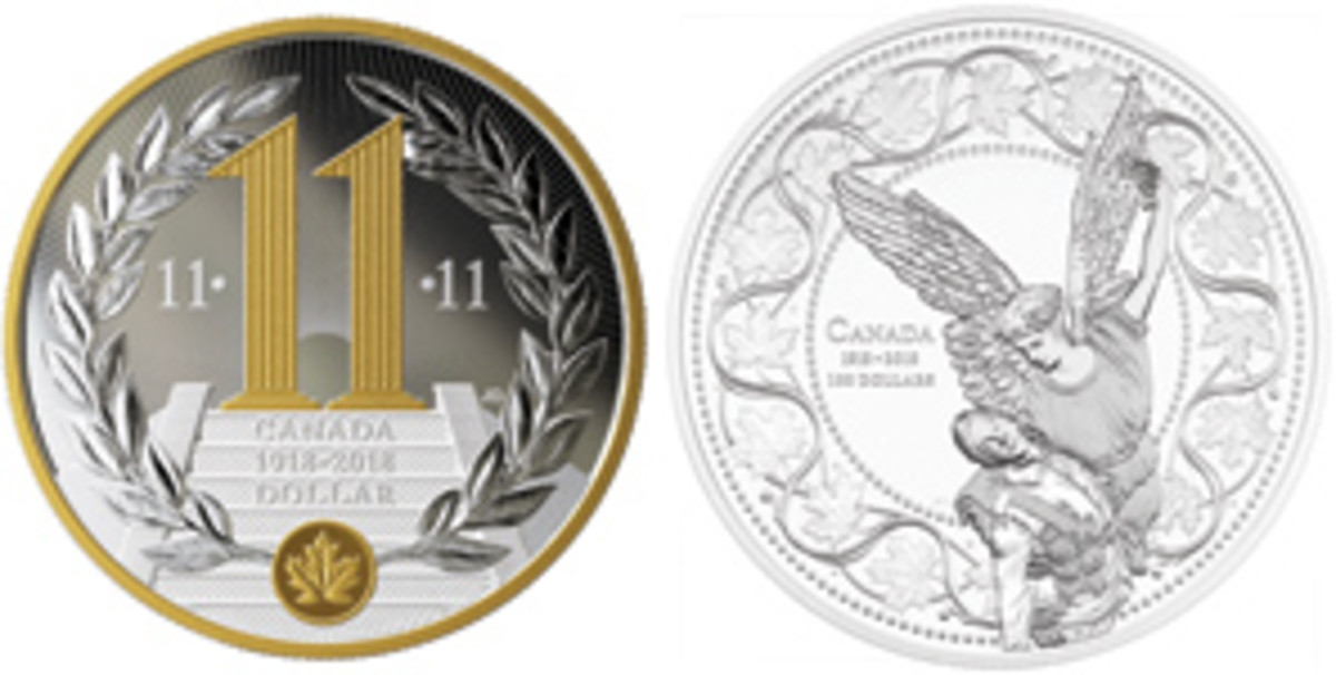 Canada reminds us it is all about 11.11.11 on a silver dollar while saluting its fallen on a haunting silver $100. (Images courtesy Royal Canadian Mint)