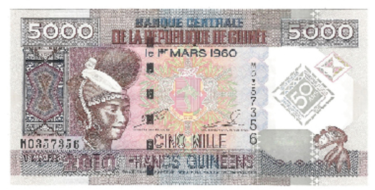 Guinea celebrated its 50th year of Guinea currency with a new 5000-franc issue.