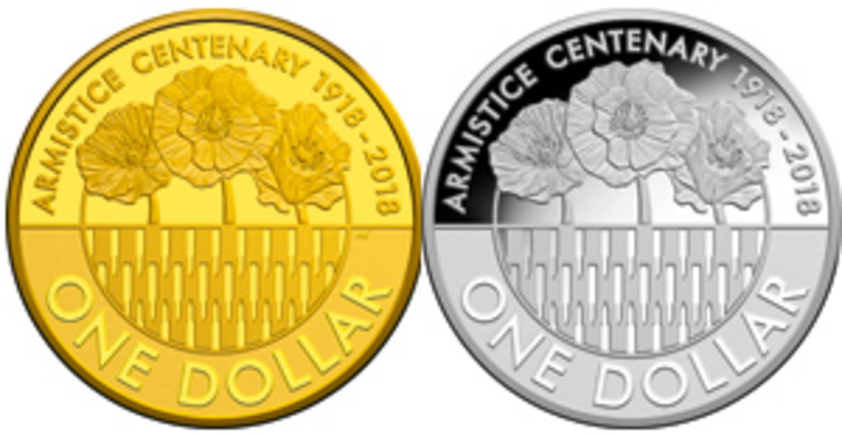 Common reverse of Australia's gold and silver dollars marking the armistice centennial. Flanders' poppies bloom above abandoned German rounds. (Images courtesy Royal Australian Mint)