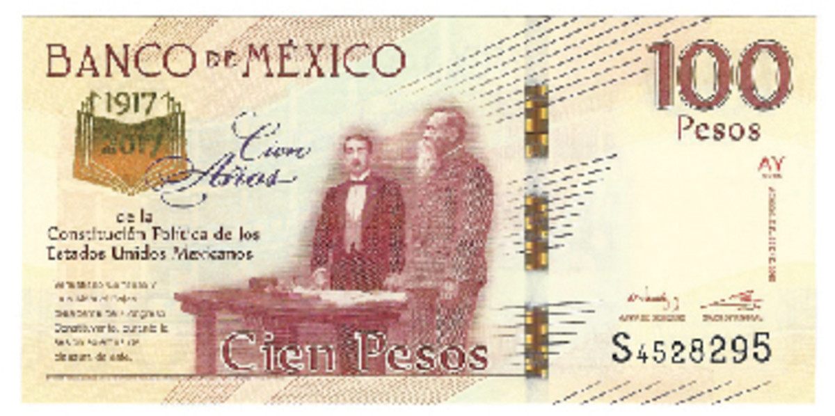 The Banco de Mexico issued a special 100 pesos in 2016 marking the 100th anniversary of the Mexican constitution of 1917.