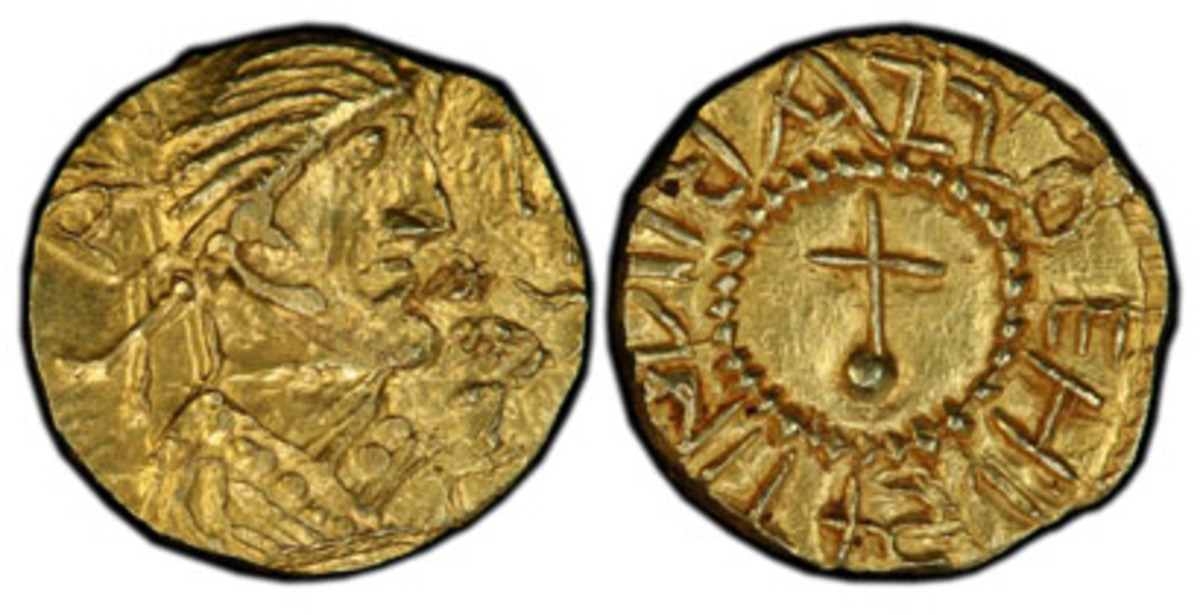 This early 7th-century gold thrysma of King Eadbald of Kent is the first English coin with the image and name of the issuing king. (Phil Arnold/Professional Coin Grading Service photo)