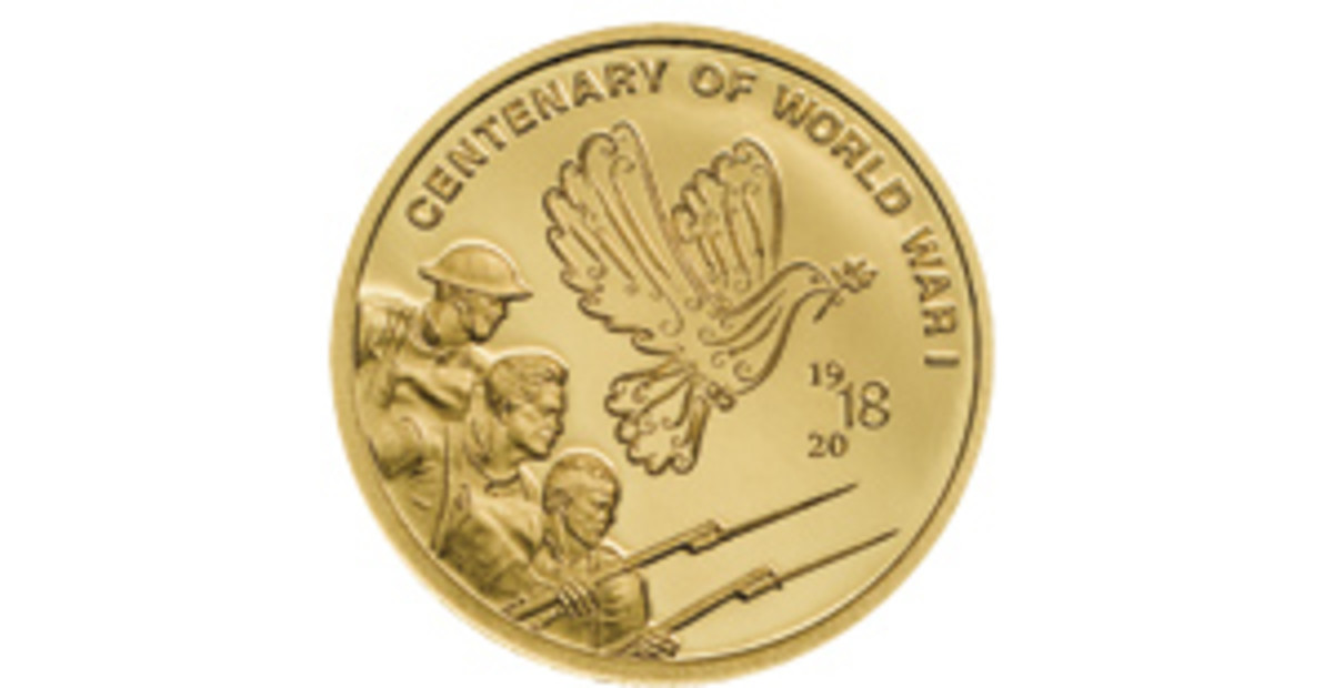 A dove soars above bayonets on this Cook Islands $10. (Image courtesy Coin Invest Trust)