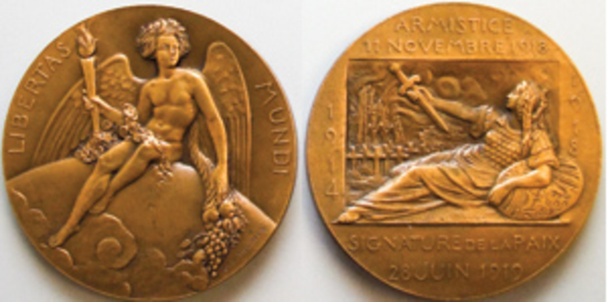 A neo-classical French take on the 1918 Armistice and 1919 Treaty of Versailles by Anie Mouroux: bronze 68 mm, 153.76 g. Is that Brunhild on the reverse surrendering her sword hilt-first? (Images courtesy Yale University Art Gallery)