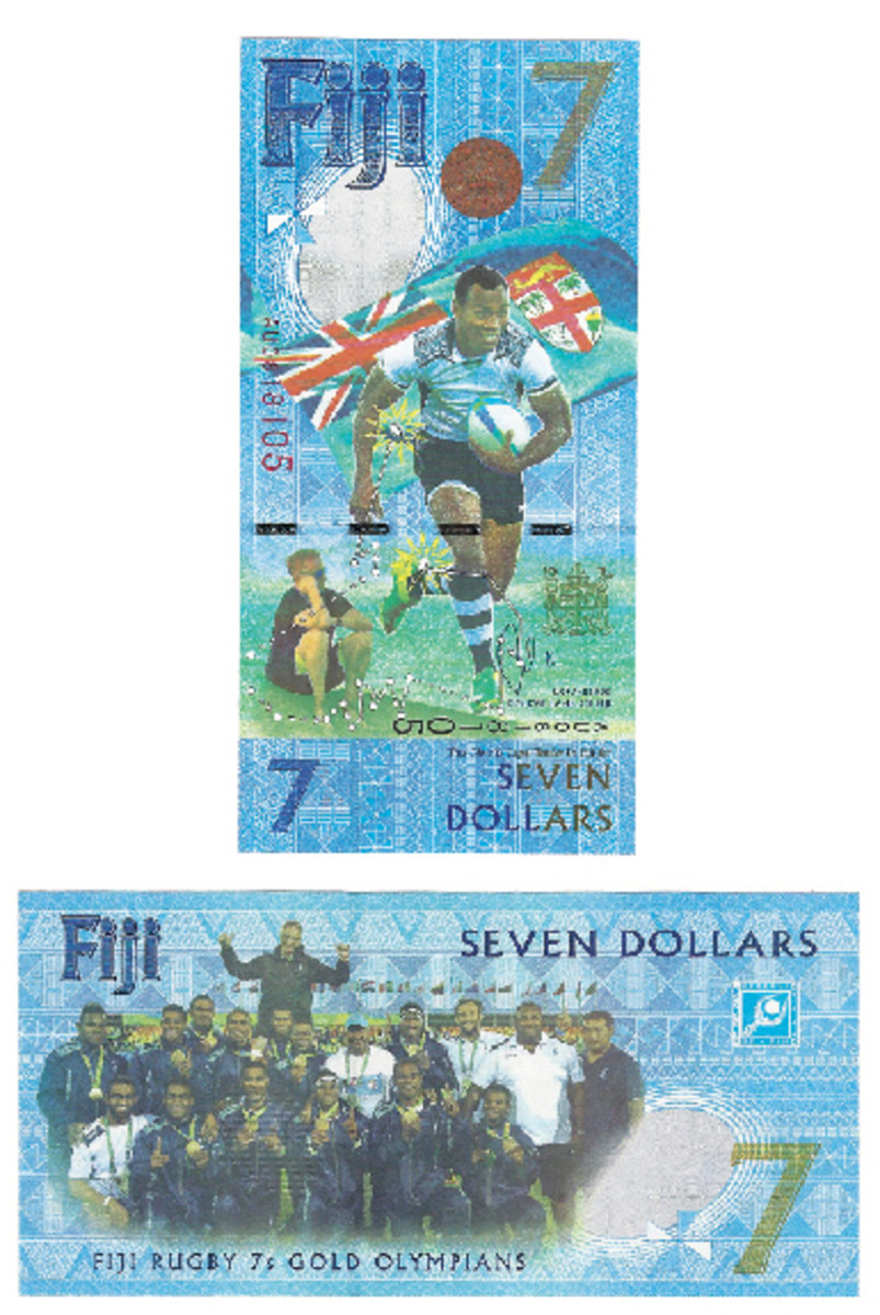 This is the much-vaunted and quite attractive Fiji $7 made in honor of the Rugby 7s Gold Olympians. Vertical face, horizontal back, most unusual.