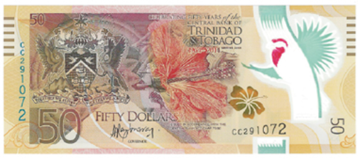 "Trinidad remembers its 50th anniversary of the establishment of its Central Bank by issuing a new commemorative 50-dollar note designated ""Series 2014."""