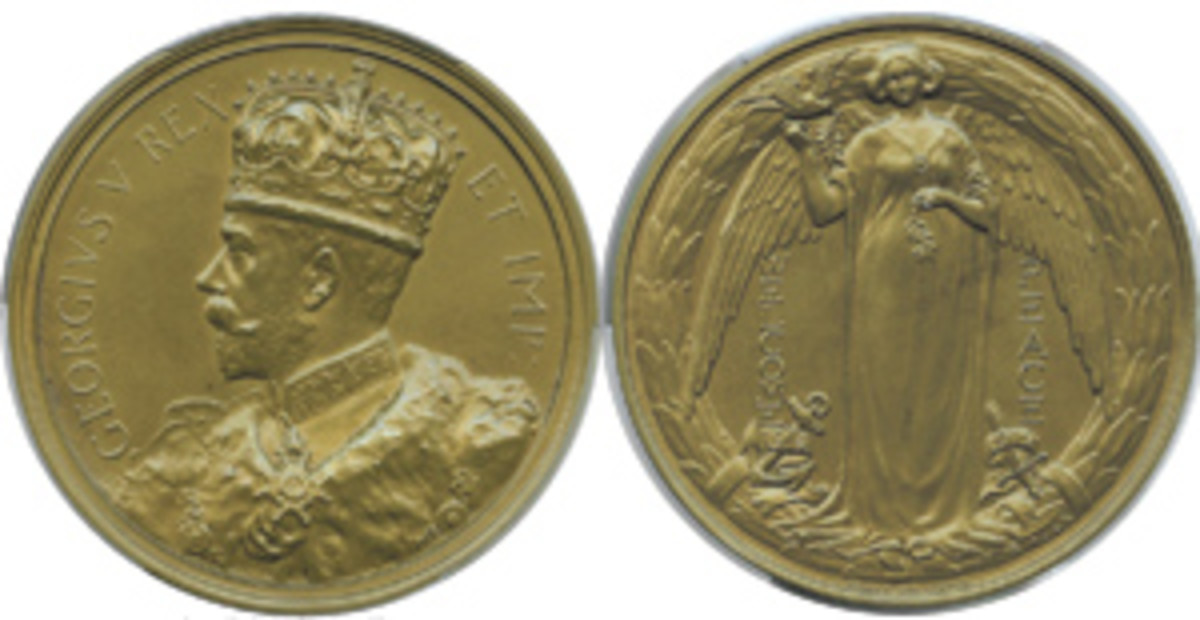 High quality British 64 mm, bronze WELCOME PEACE medal that shows the dates as 1914 / 1919 on the reverse (BHM-4146). George V, King & Emperor, occupies the obverse. (Image courtesy & © www.ha.com)
