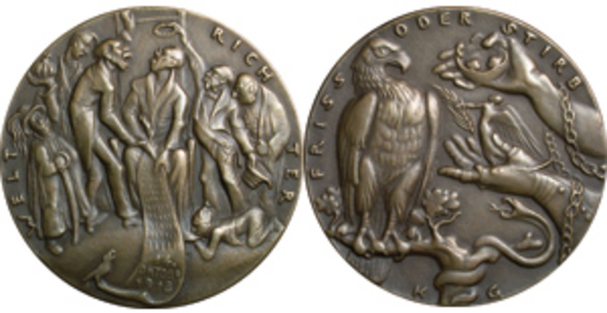 Goetz' commentary on President Wilson's response to Germany's peace overtures. Obverse: He sits like a new monarch on a throne but decided to leave all questions of the armistice to the military commanders. Reverse: Germany's eagle is offered chains and a peace palm in exchange for the kaiser's crown. The legend reads FRISS ODER STRIB [Eat or die]. (Images © Henry Scott Goodman, www.KarlGoetz.com)