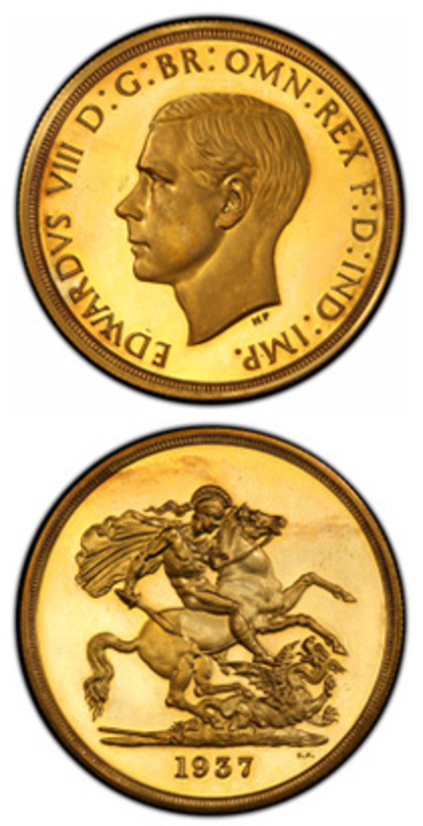 "The only complete 1937 Edward VIII proof set in private hands will be displayed for the first time in the United States as part of the ""Tyrants of the Thames"" exhibit at the February 2018 Long Beach Expo. This coin from the historic set is the gold proof 5 Pounds. (Phil Arnold/Professional Coin Grading Service photo)"