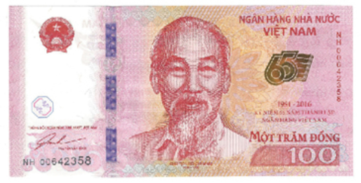 A 100-dong for Vietnam dated 2016 proclaims the 60th anniversary of the founding of the National Bank of Vietnam. Ho Chi-Minh is portrayed on the face, bank on back. This note is of such a low face value that I wonder if it can meaningfully circulate.