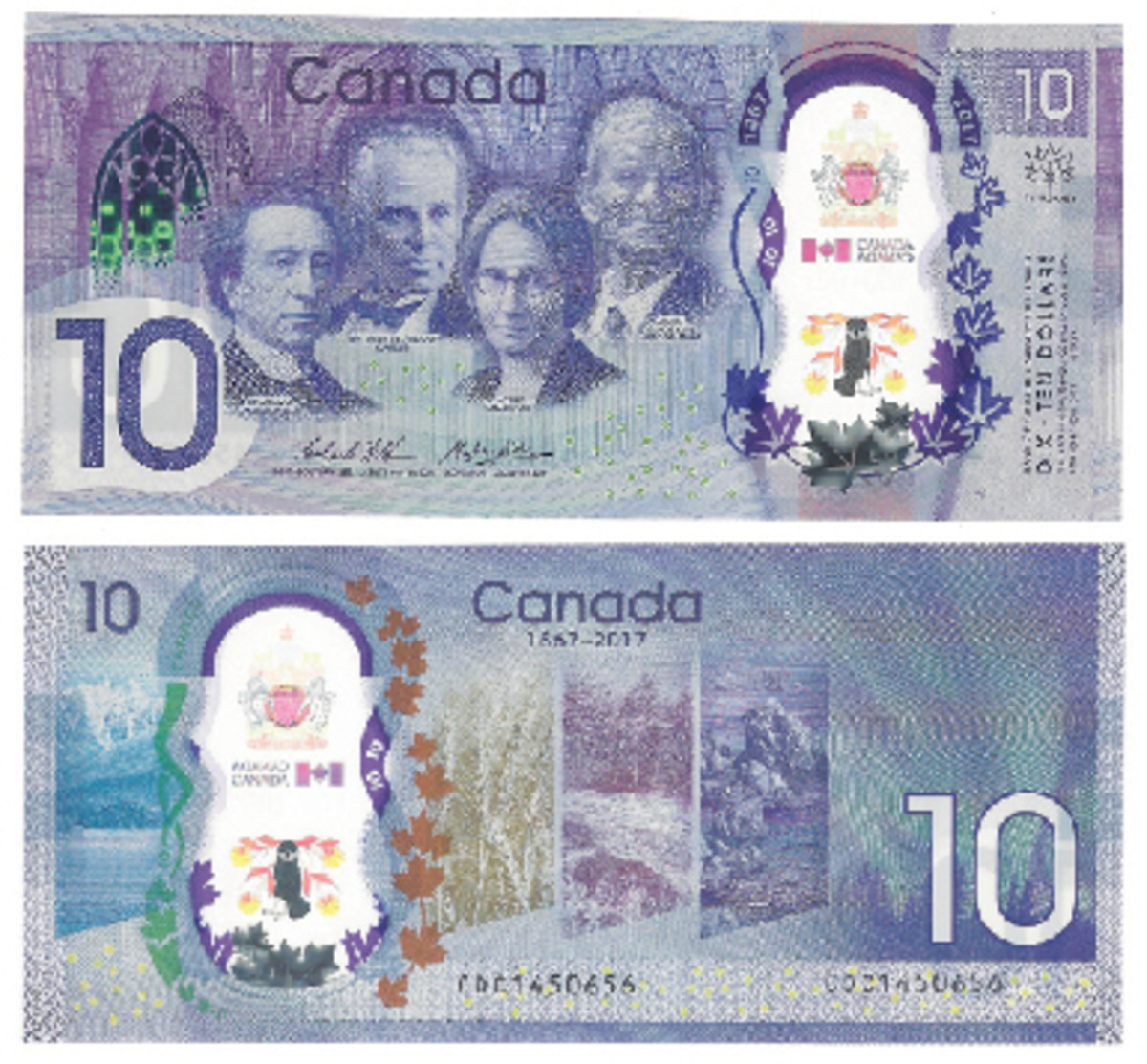 Canada came out with a new $10 for the 150th anniversary of its confederation in 1867. There are raised dots at upper left for the blind. The note is made of polymer.