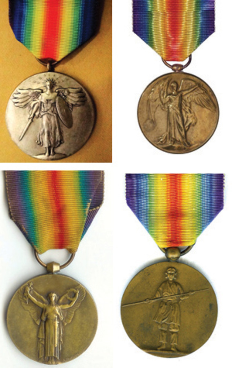 Inter-allied Victory bronze medals as awarded to all allied troops. All show variations of a winged victory. All are suspended by a double rainbow ribbon. From left: U.S.A., U.K., France, Japan. (Images courtesy Wikimedia Commons)