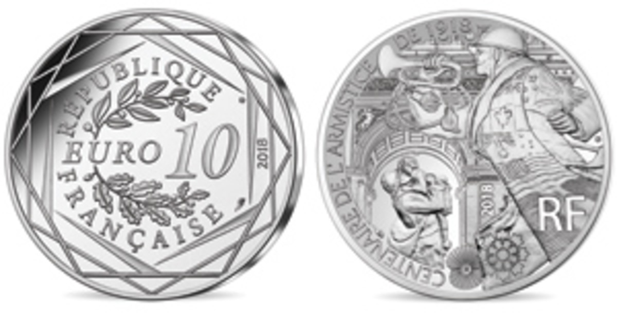 French 10 euro recalling the jubilation that pervaded all corners of France the day the firing stopped and the surviving troops headed home. (Images courtesy Monnaie de Paris)
