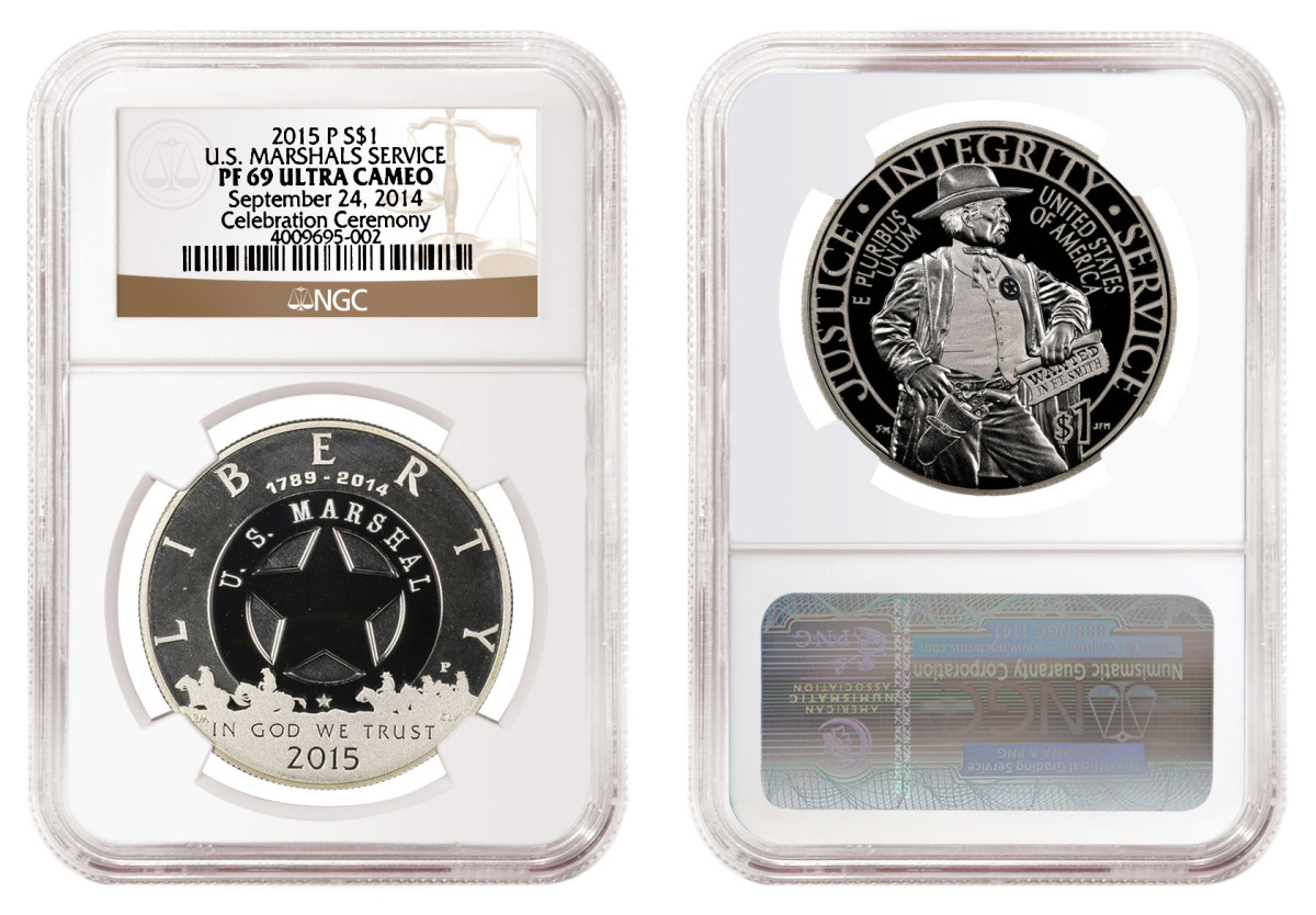 One of the early release 2015-P U.S. Marshals Service commemorative silver dollars graded by NGC.