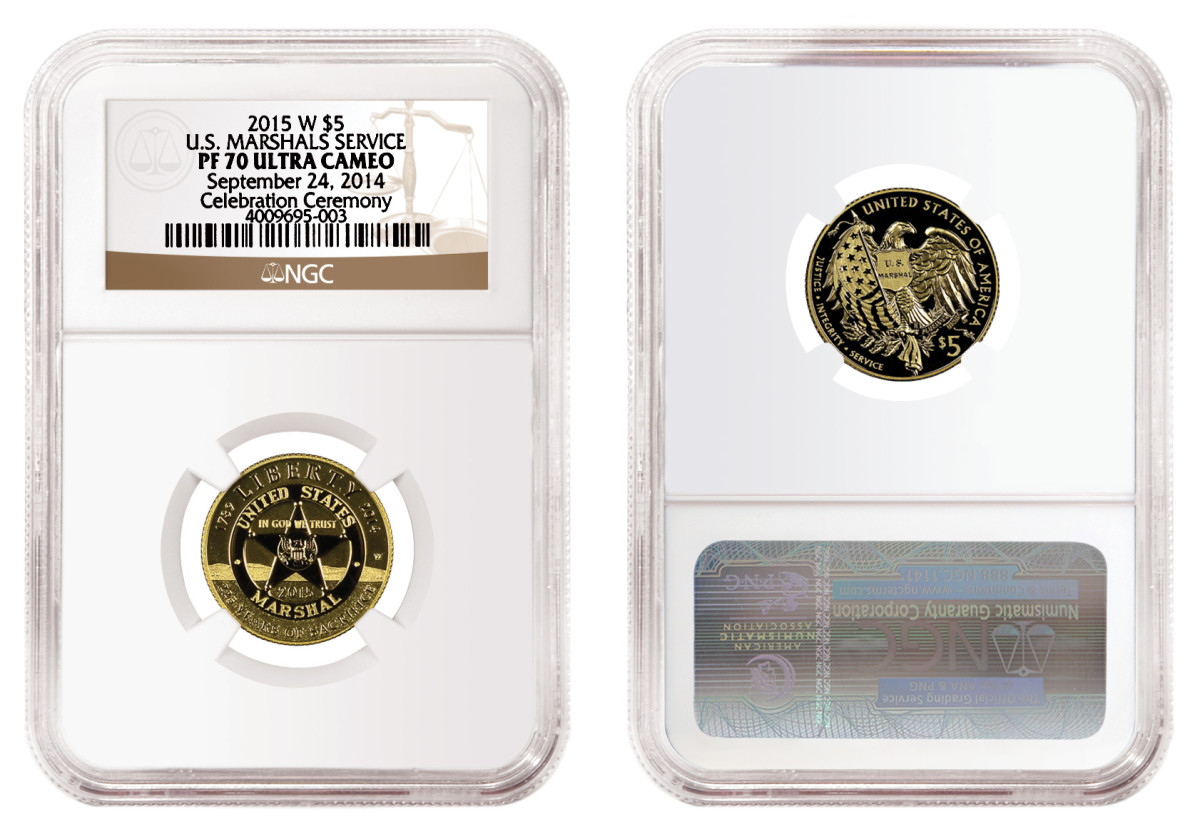 One of the early release 2015-W U.S. Marshals Service $5 gold commemoratives graded by NGC.