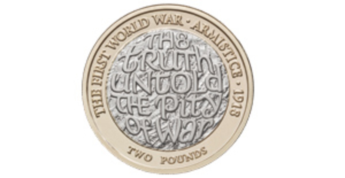 Britain's Royal Mint remembers war poet Wilfred Owen killed one week before the Armistice. (Image courtesy & © The Royal Mint)