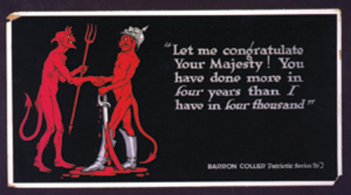 A Baron Collier postcard, one of a wartime series, depicting Kaiser Bill being welcomed to hell. (Image courtesy Library of Congress)