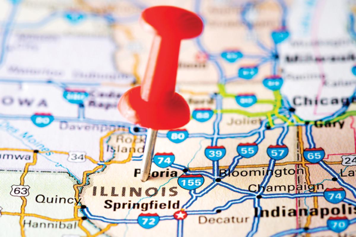 USA states on map: Illinois