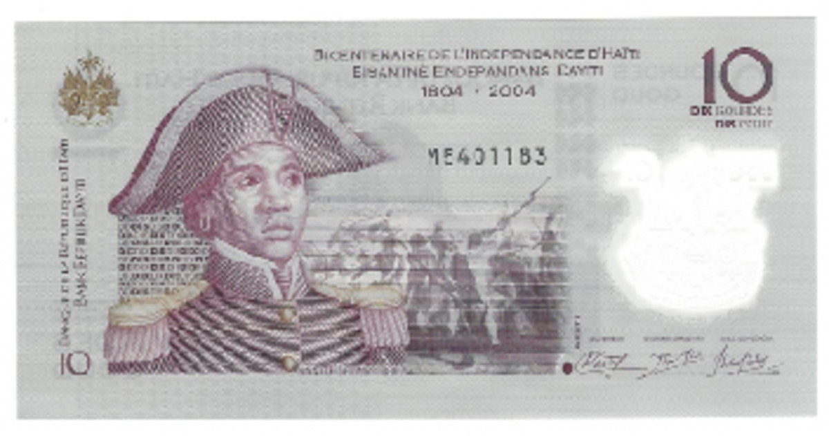 Haiti did something entirely different. It used a 10-gourde design from 2004 made of paper and did the same design but on polymer and with a window at right. This note is not in circulation.