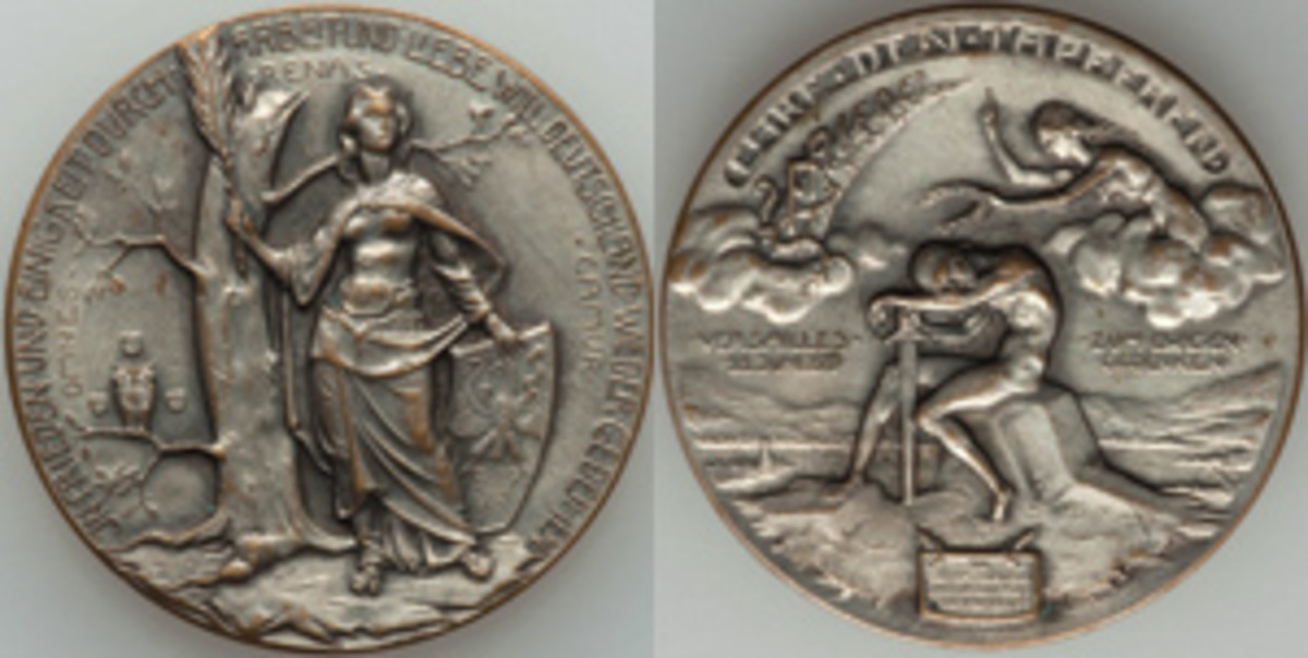 Germania redux! Silvered-bronze medal of 1919 gives a German perspective on the signing of the Treaty of Versailles on June 28, 1919, that effectively ended WWI. The legends read: IN FRIEDEN UND EINIGKEIT DURCH ARBEIT UND LIEBE WILL DEUTSCHLAND WIEDER GEDEIHEN [In peace and unity through labor and love will Germany thrive again] / OMNES RENASCAMUR [We will all be reborn] / EHRE DEN TAPFEREN [Honor the brave] / ?FRIEDE? [?Peace?] / ZUM EWIGEN GEDENKEN [In eternal remembrance]. The question marks either side of peace hold considerable portent. (Images courtesy & © www.ha.com)