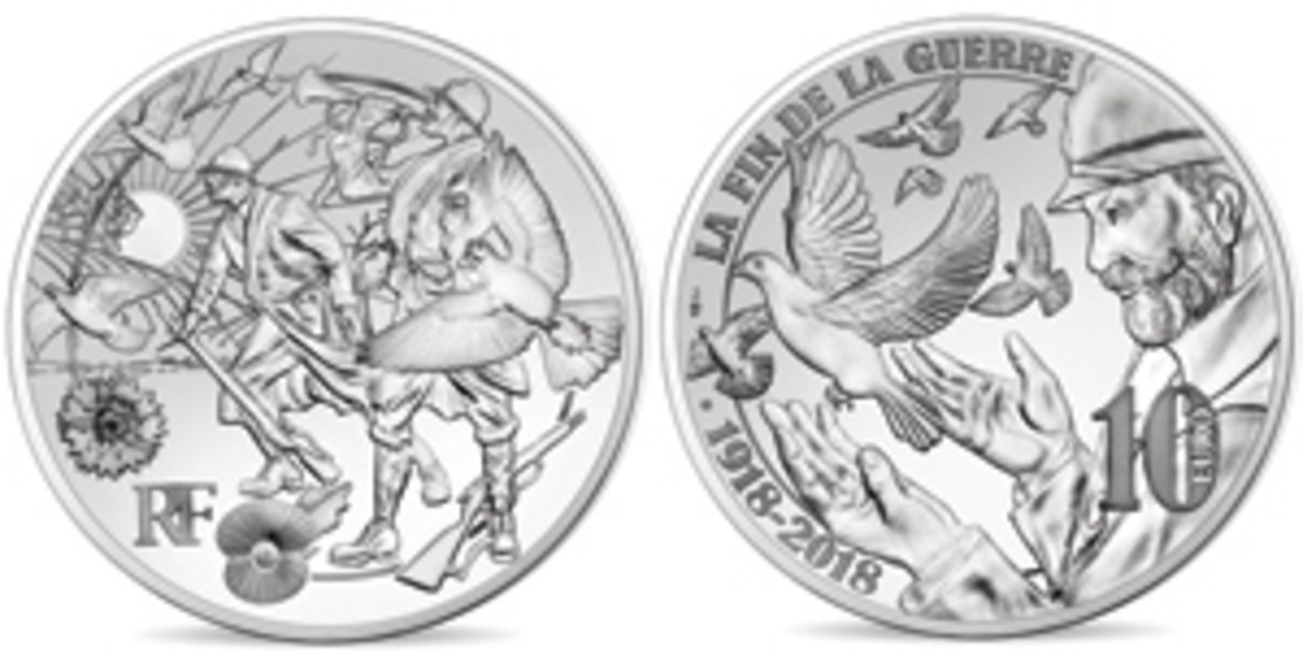 Monnaie de Paris evocative designs for their proof silver 10 euro marking the centennial of the WWI armistice. The themes depicted are very much those of French medals struck in the first months after the war. (Images courtesy Monnaie de Paris)