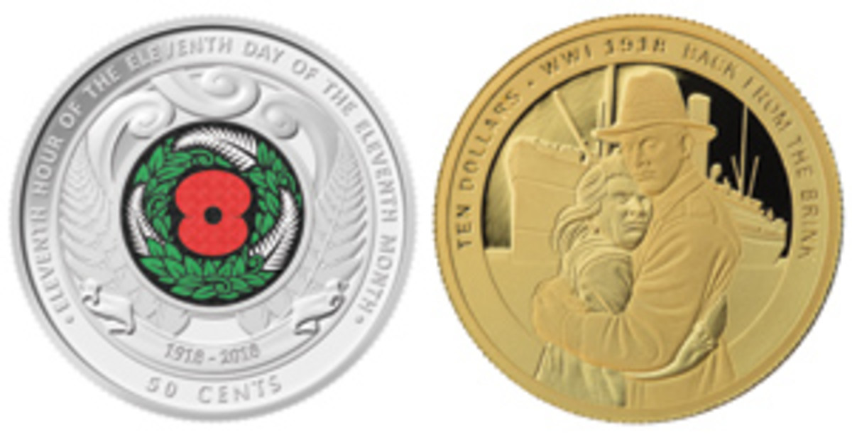 New Zealand is the one country to have issued a circulating coin for the centenary: a colored 50 cents that ensures the anniversary of Armistice is recognized throughout the land. There is also a gold $10 that recalls the homecoming. (Images courtesy New Zealand Post)