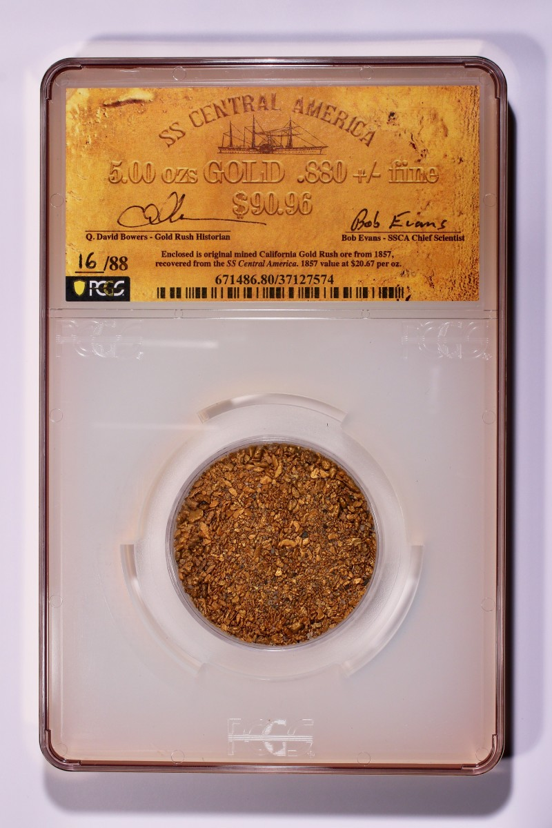 One of the hand-numbered and signed grand format, 5½ by 9 inches holders housing five-ounces of California Gold Rush sunken treasure gold dust recovered from the fabled SS Central America. (Photo courtesy of PCGS.)