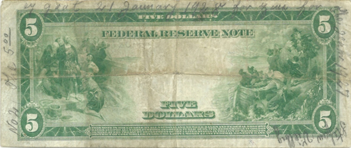 Fig. 3. A favorite from the author's collection, this Series of 1914 $5 Blue Seal Federal Reserve Note was apparently used to buy the sins of young Stefan Vielbig for the year 1927.
