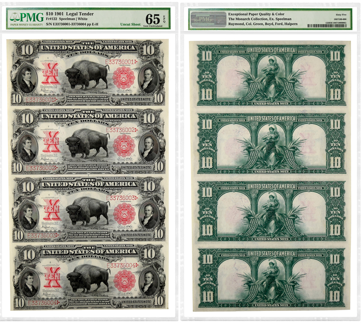 "Uncut sheet of four 1901 $10 ""Bison"" Legal Tender Notes graded PMG 65 Gem Uncirculated EPQ."