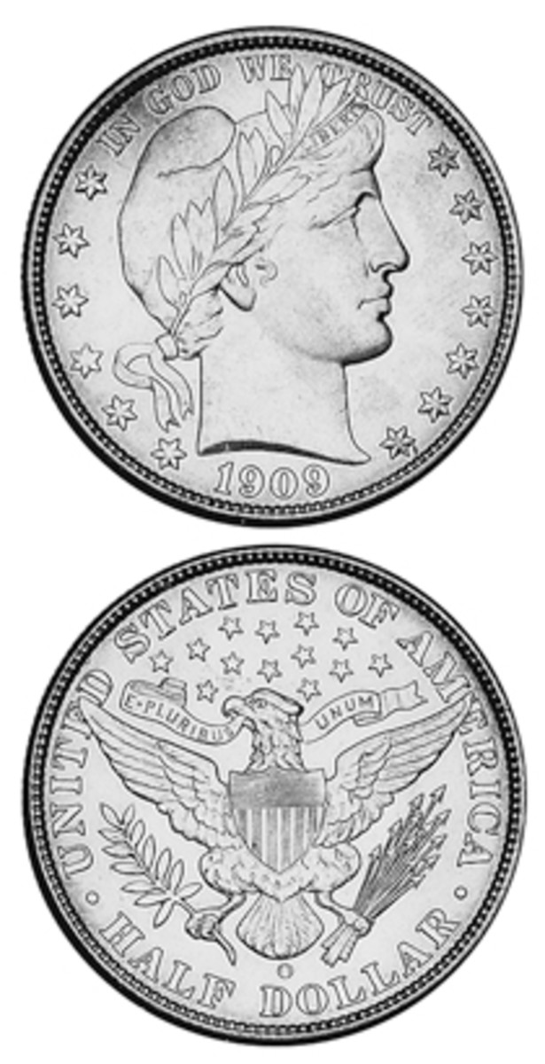 Mintages of the Barber quarter and half dollars were less than one million each in 1909.