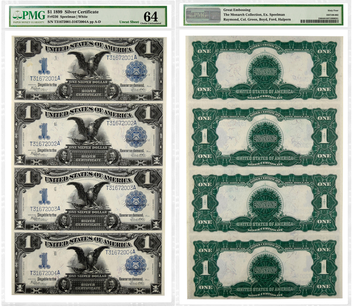 "Uncut sheet of four 1899 $1 ""Black Eagle"" Silver Certificates graded PMG-64 Choice Uncirculated."