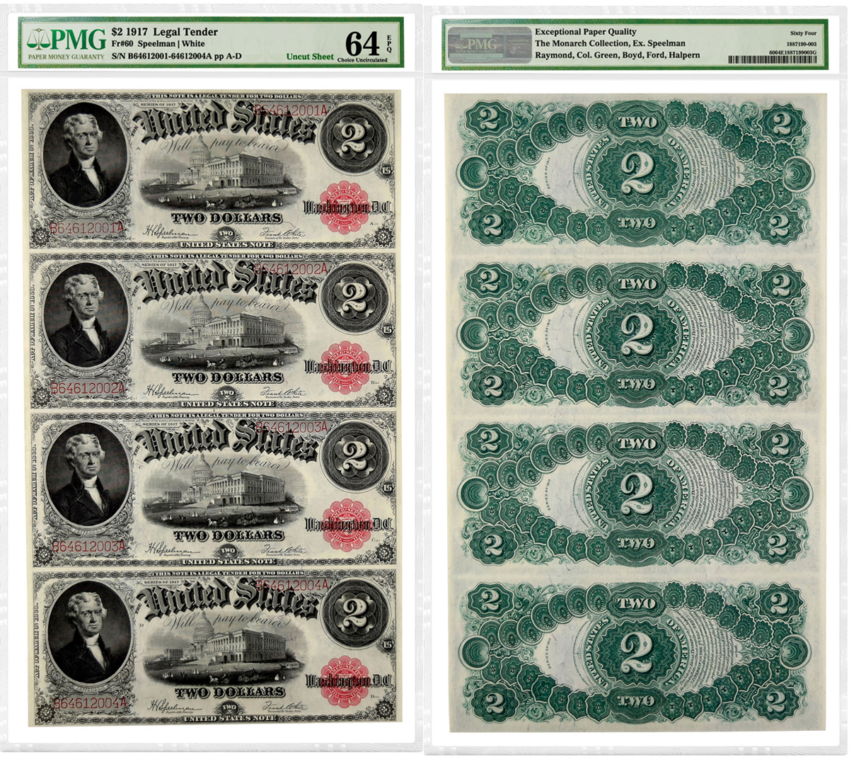 Uncut sheet of four 1917 $2 Legal Tender Notes graded PMG 64 Choice Uncirculated EPQ.