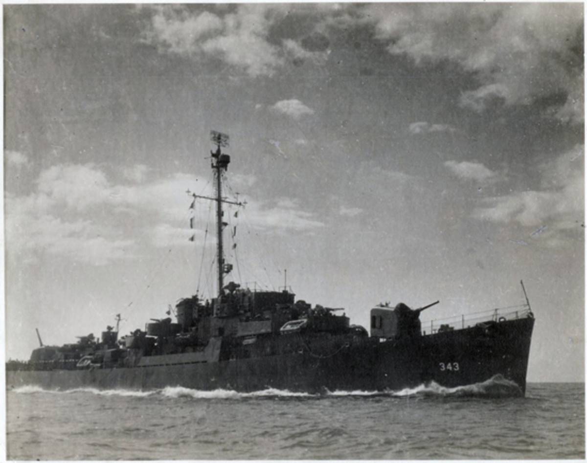 Fig. 7. This wartime photo shows the destroyer escort 'USS Abercrombie' at sea.