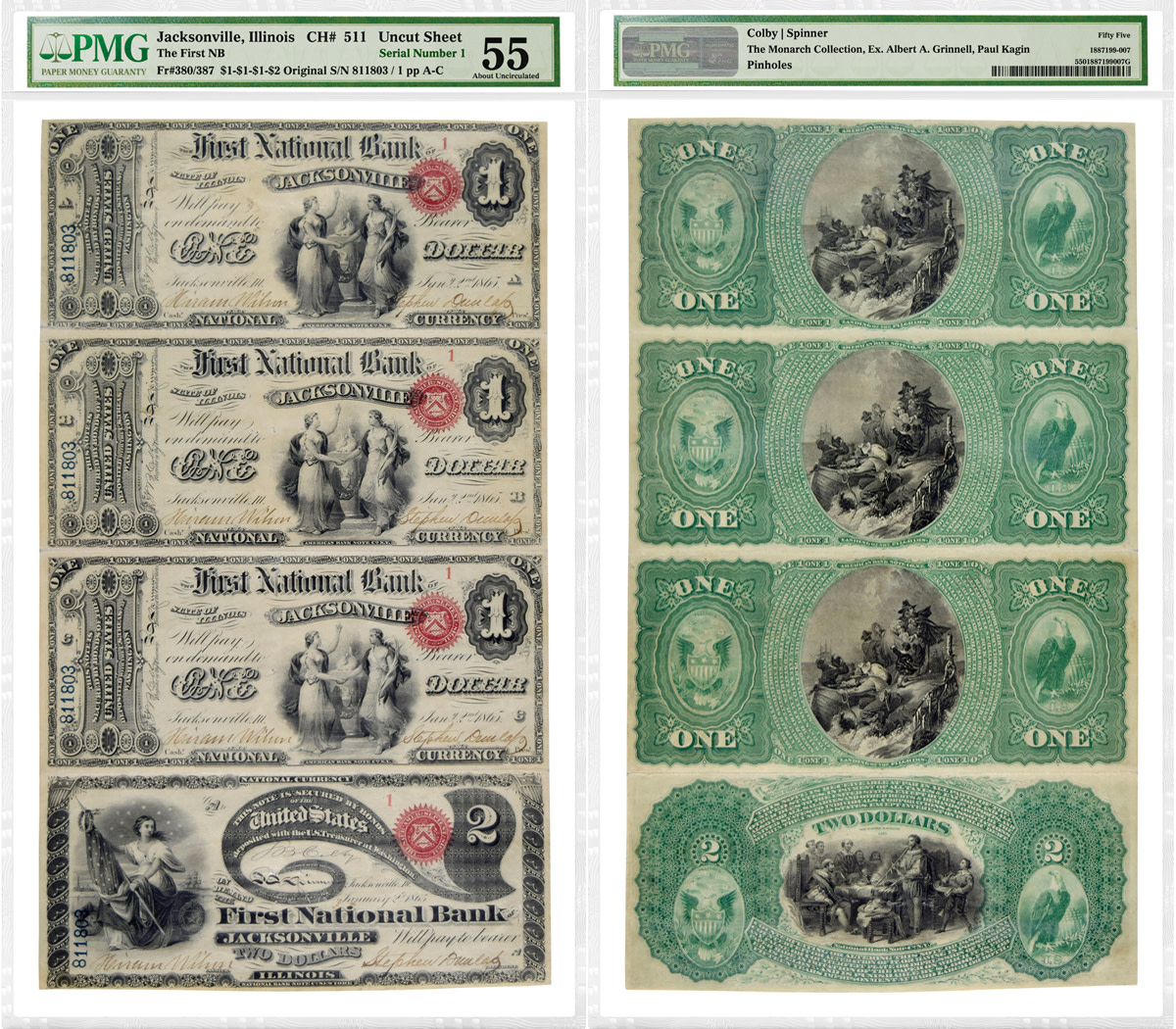 Uncut sheet of four Jacksonville, Ill. First Charter National Bank Notes ($1, $1, $1 and $2) with Serial Number 1, pedigreed to the Grinnell Collection and graded PMG-55 About Uncirculated. (Images courtesy of PMG)