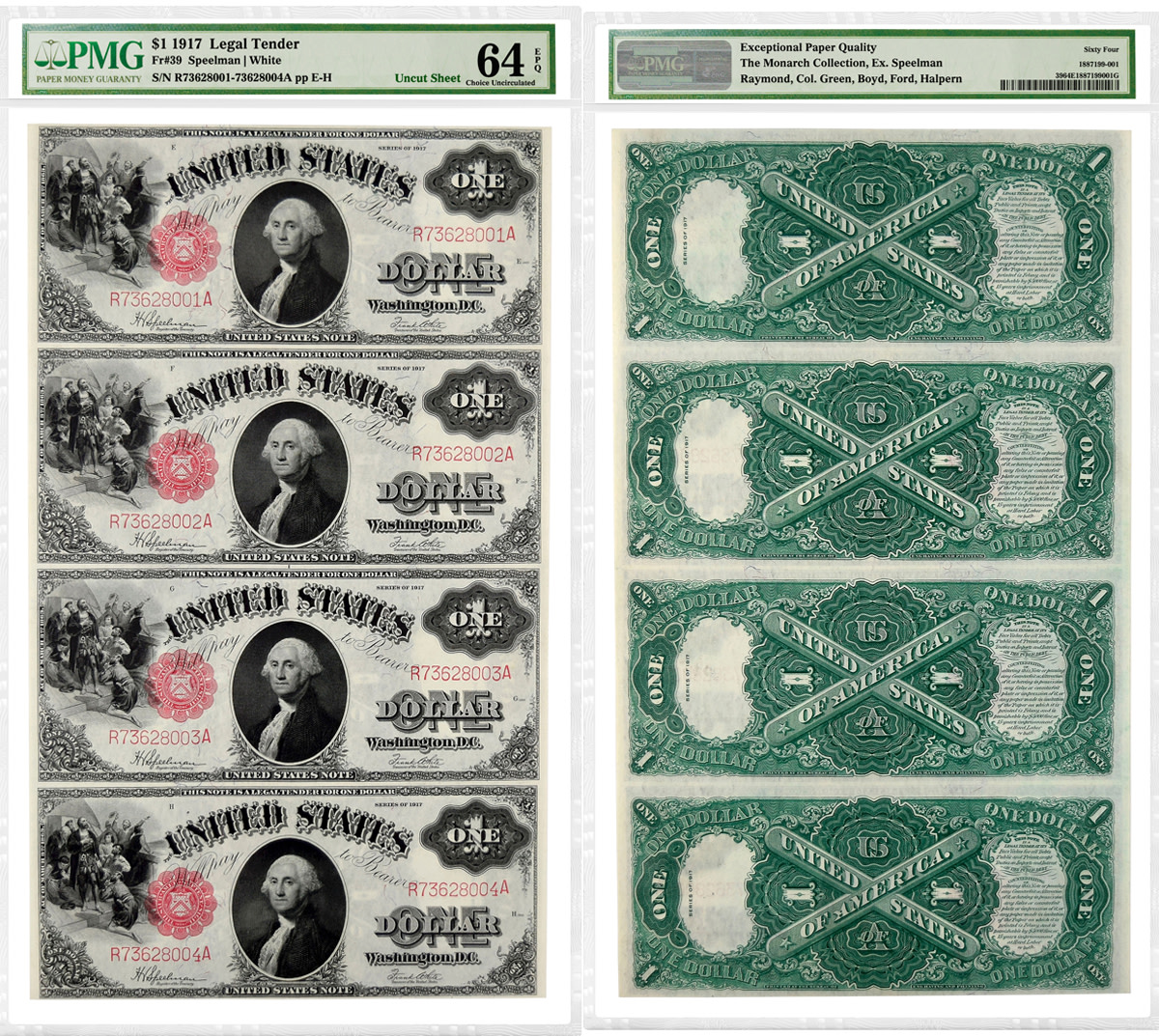Uncut sheet of four 1917 $1 Legal Tender Notes graded PMG 64 Choice Uncirculated 64 EPQ.