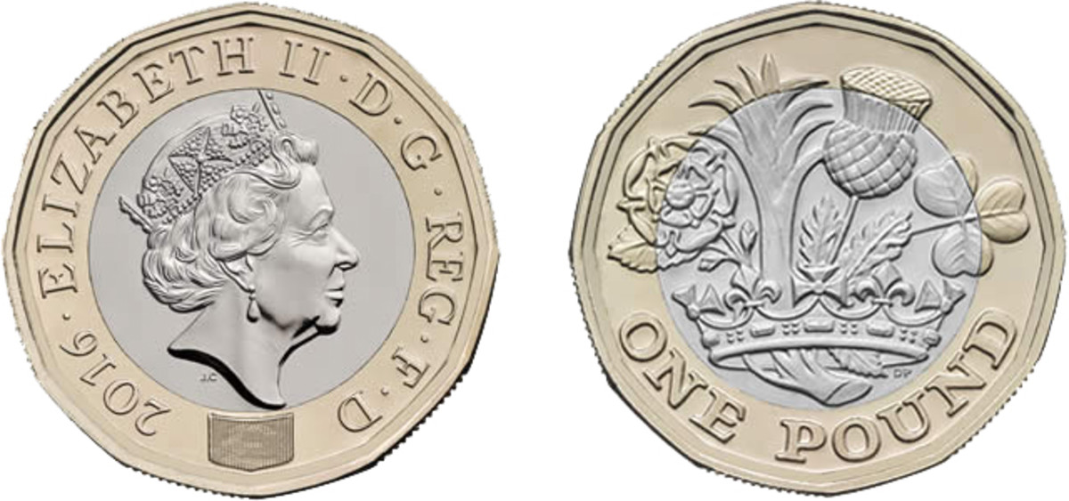 England's new one pound coin features advance anti-counterfeiting elements.