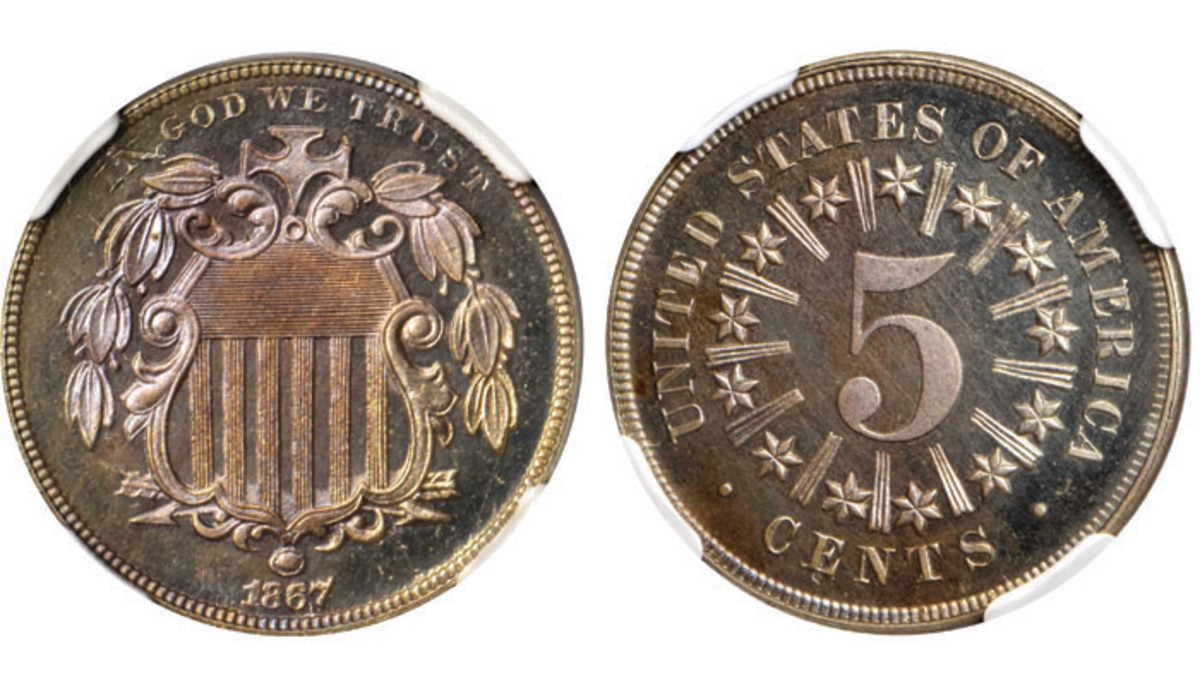 Lot 5130. 1867 Shield Nickel. Images courtesy of Stack's Bowers