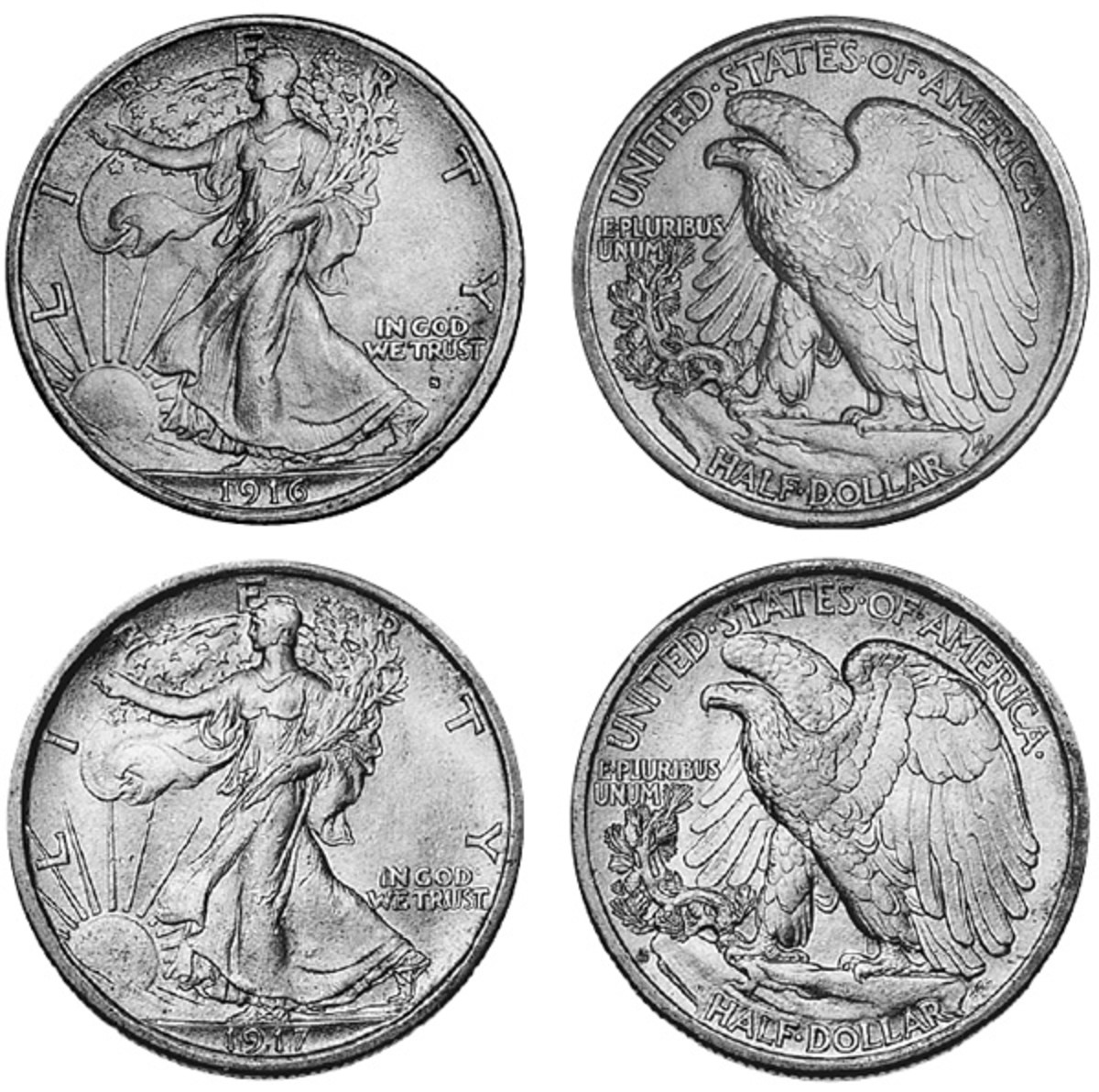 "In 1916 and part of 1917, the mintmark on the Walking Liberty half dollar was placed under ""In God We Trust"" on the obverse. In 1917, the mintmark was moved to the reverse. It is to the left of the rocky crag and below the olive branch. The top coin is a 1916-S and the bottom a 1917-D."