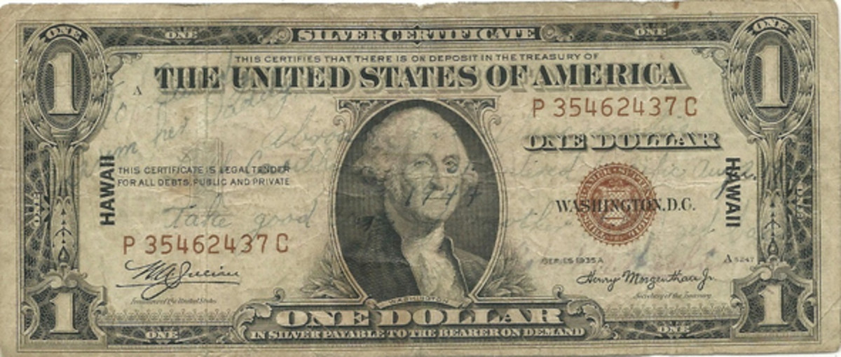"Fig. 6. This Series of 1935-A $1 HAWAII overprint Silver Certificate was sent from a sailor aboard the destroyer escort 'USS Abercrombie' to his little daughter Sally after he entered the Pacific Ocean en route to battle duty. He admonishes his daughter to ""take good care of Mother until I get back."""