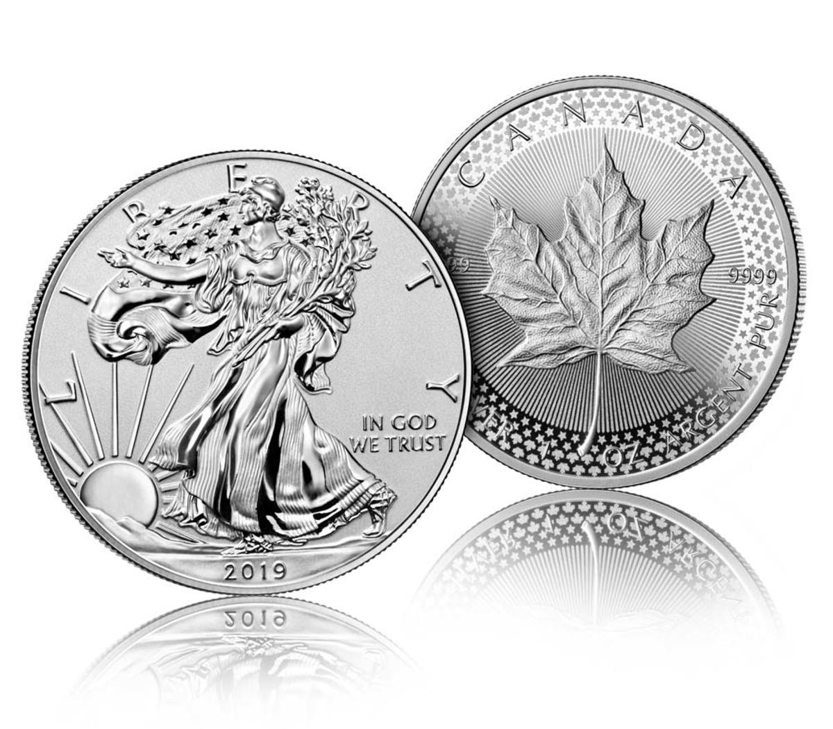 The U.S. coin is one troy ounce of .999 fine silver, and the Canadian coin is one troy ounce of .9999 pure silver (Images courtesy of the US Mint)
