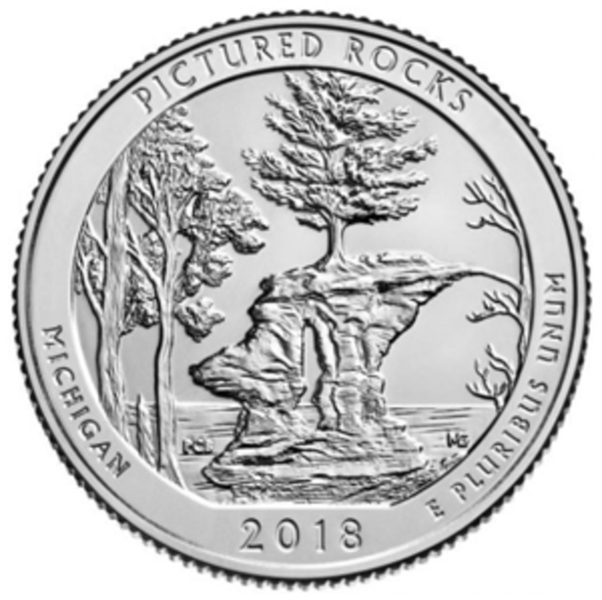 Reverse of the 2018 Pictured Rocks National Lakeshore quarter.