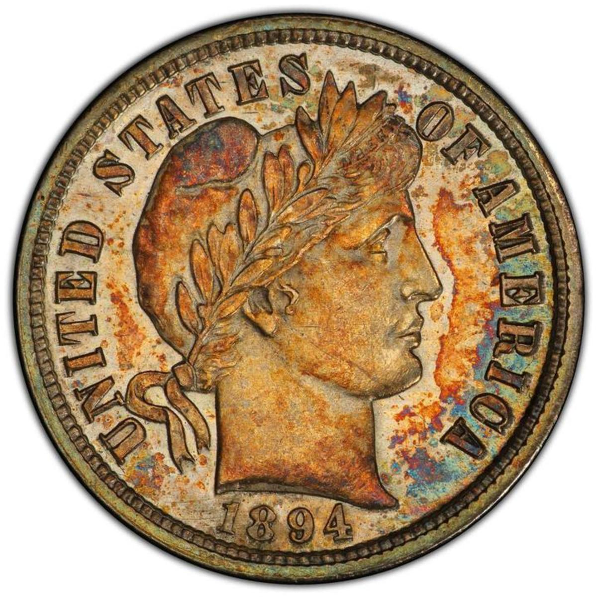 The Legendary 1894-S Barber dime is one of just 24 coins struck. Only nine examples are currently known.