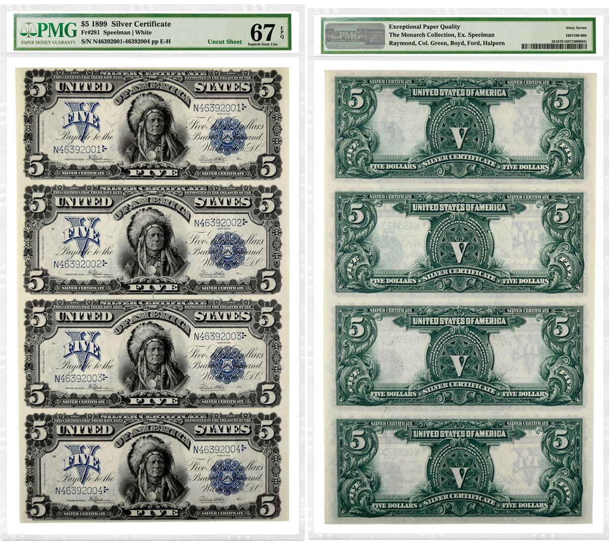 "Uncut sheet of four 1899 $5 ""Chief"" Silver Certificates graded PMG 67 Superb Gem Uncirculated EPQ"