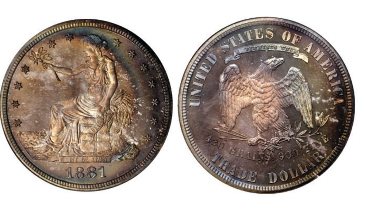 Lot 5275. 1881 Trade Dollar Proof- 68 Cameo. Images courtesy of Stack's Bowers.